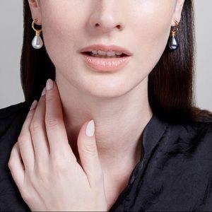 Venus Pearl Drop Earrings, Large Black/ White